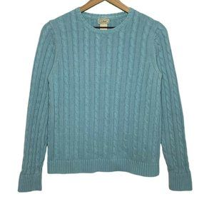 LL Bean Blue Classic Cable Knit Crewneck Sweater